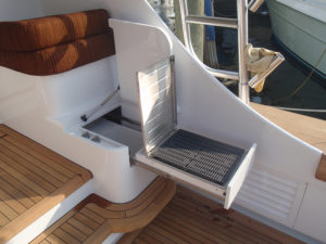 Custom icebox storage work at the CAY Marine Boatyard Miami