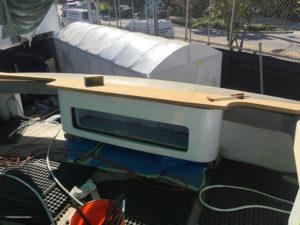 Fiberglass custom bait well work at the CAY Marine Boatyard Miami