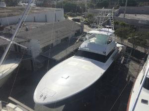Metal fiberglass work at the CAY Marine Boatyard Miami
