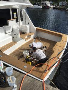 Teak fabrication work at the CAY Marine Boatyard Miami